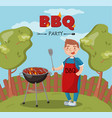 young man cooking barbecue on the backyard n vector image vector image