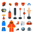 boxing icons flat colorful icons vector image