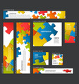banner templates collection with abstract puzzle vector image vector image