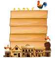 board template with western town and chickens vector image vector image