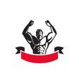Body Builder Flexing Muscles Banner Retro vector image vector image