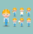 builder engineer technician mechanic cute mascot vector image vector image
