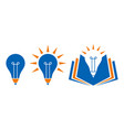 bulb shaped education icons with pencil and book vector image vector image