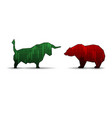 bull and bear isolated on white background vector image