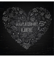 Chalk board Marine Life in the form of heart vector image vector image