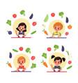children eat salad vitamin organic food vector image