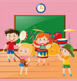 children playing music in classroom vector image