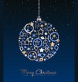 christmas and new year copper ball decoration card vector image vector image