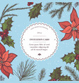 composition with colored poinsettia holly vector image vector image