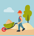 construction site worker handcart industry vector image vector image