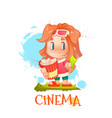 cute girl with popcorn and ticket vector image vector image