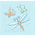 cute set of insects like dragonfly butterfly vector image