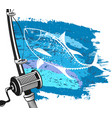fishing for tuna and wave vector image vector image