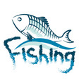 fishing with fish on the wave vector image vector image