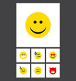 flat icon expression set of sad grin asleep and vector image vector image