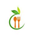 food spoon organic leaf logo vector image vector image