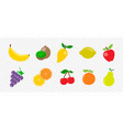 fresh juicy fruit and berries in flat style on vector image vector image