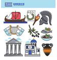 greece travel tourism landmark symbols and greek vector image vector image