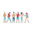 group trendy and business people are standing vector image