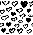 Grunge Brush Hearts Seamless Pattern vector image vector image