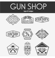 Gun shop logotypes and badges set vector image