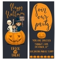 Halloween party flyers set with kids in costumes vector image vector image