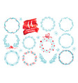hand drawn christmas wreath set with winter floral vector image vector image