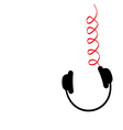 Hanging black headphones red spring cord Music vector image vector image