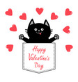 happy valentines day cat in pink pocket red heart vector image vector image