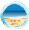Holiday card with Summer 2015 written on sandy vector image vector image