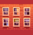 house facade with brick wall and windows vector image vector image