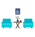 living room interior with armchairs furniture vector image vector image