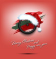 new year and bicycle wheel in santa hat vector image