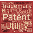 patent trademark text background wordcloud concept vector image vector image