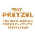 pretzel font food alphabet traditional german vector image vector image