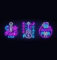 rock music collection neon logos pub vector image