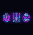 rock music collection neon logos rock pub vector image vector image