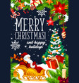 santa with christmas gift on sleigh vector image vector image