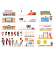school cartoon icons set vector image