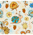 seamless pattern with snail vector image