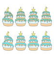 set color cakes with stars moon vector image vector image