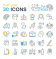set flat line icons of stroke vector image vector image