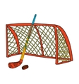 set hockey stick puck and gate vector image