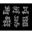 set of 6 handwritten lettering positive quotes vector image vector image