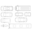 set of cars top view in outline set of vector image vector image