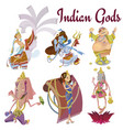 set of isolated hindu gods meditation in yoga vector image vector image