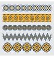set pixel ethnic seamless border ornament vector image