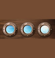 ship portholes on wooden wall with sky view vector image vector image