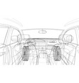 sketch of car interior rendering of 3d