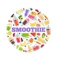 smoothie cocktails in circle summer vector image vector image